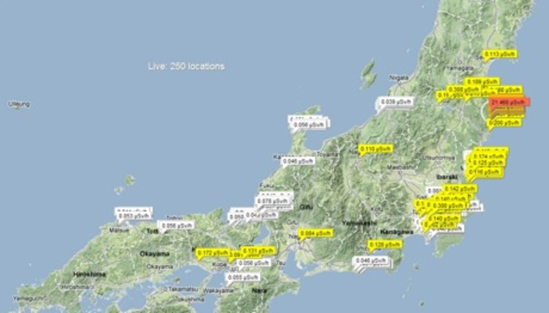 A screen shot from http://japan.failedrobot.com/ of Geiger counter readings from June 2012.