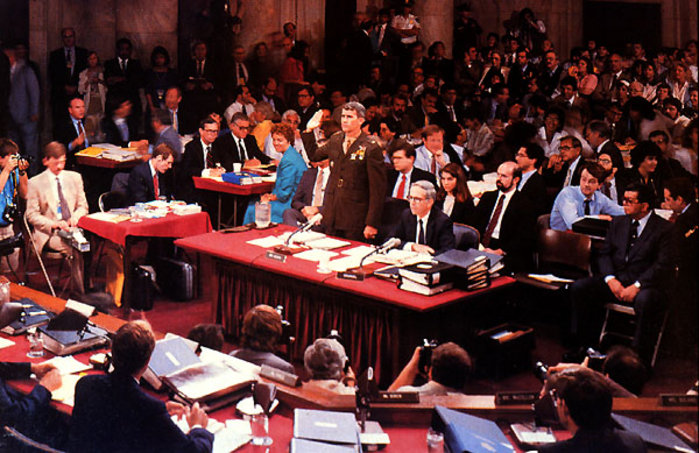 Oliver North at the Iran-Contra Hearings