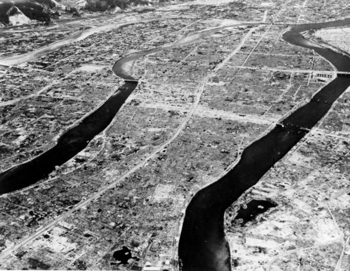 Aerial view of Hiroshima after the bombing.