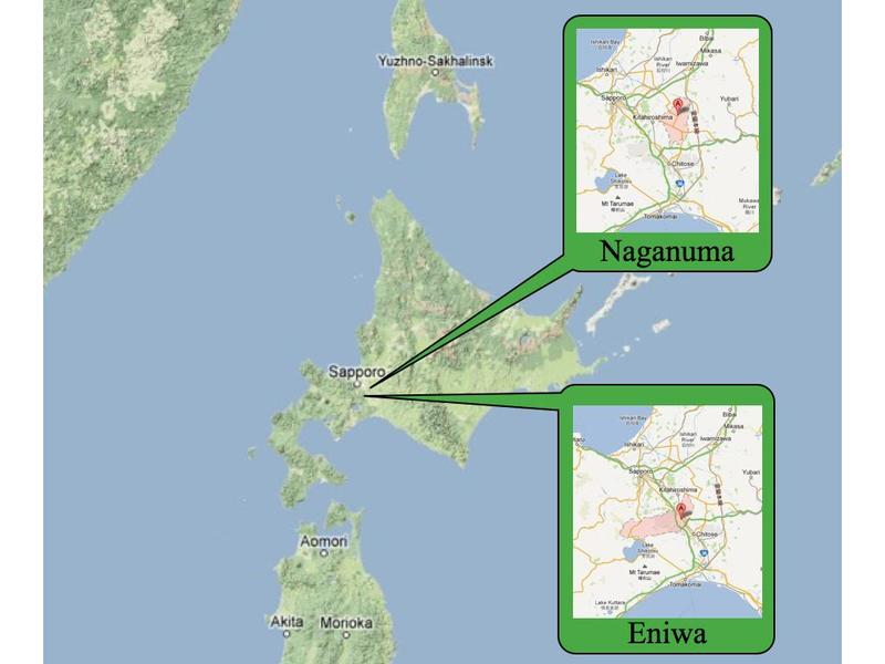 Figure 3: Map showing Eniwa and Naganuma