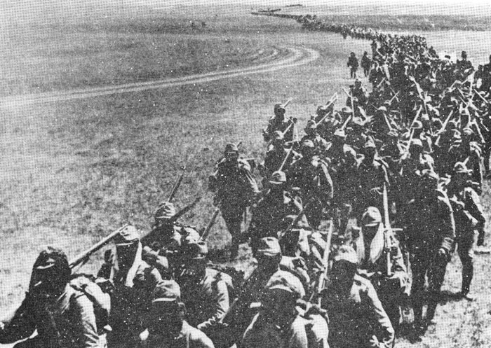 Japanese forces on the march at Nom... 1945 日中戦争