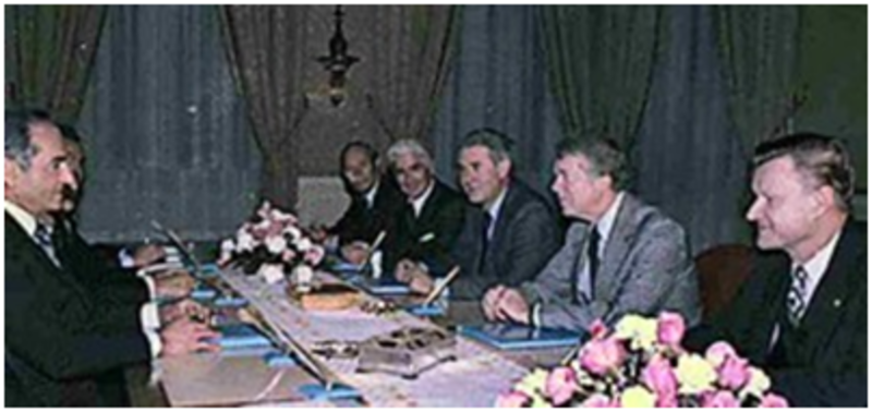 Photo of meeting between The Shah, Brezinski and President Carter